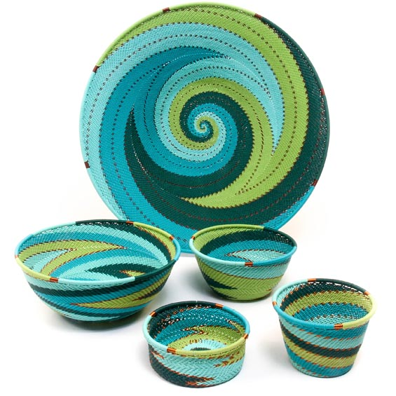 African Telephone Wire Baskets - Desk / Wall Set - 5 Pieces - #49387