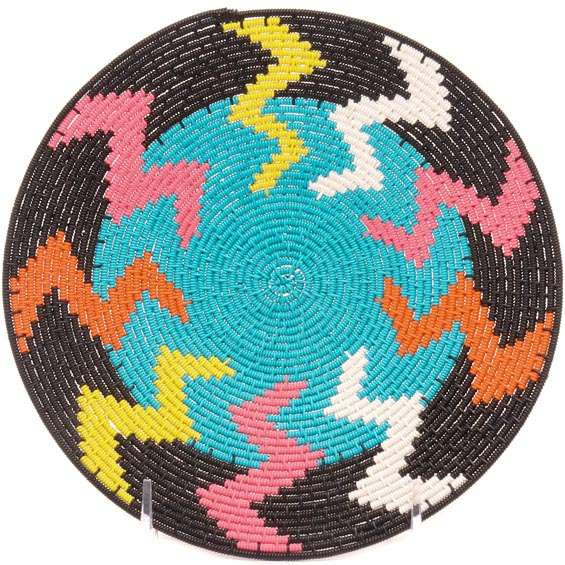 African Basket - Zulu Wire - Flat Coil Weave Plate -  7.75 Inches Across - #49443