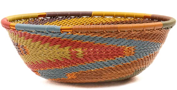 African Basket - Zulu Wire - Small Wide Bowl #50528