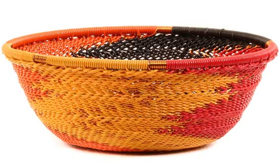African Basket - Zulu Wire - Small Wide Bowl #52162
