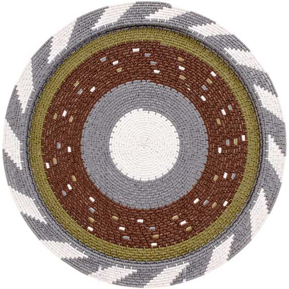 African Basket - Zulu Wire - Flat Coil Weave Plate - 12.5 Inches Across - #52433