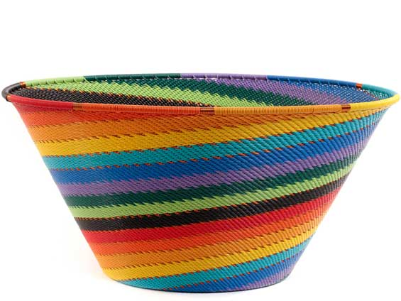 African Basket - Zulu Wire - Extra Large Funnel Bowl #55505