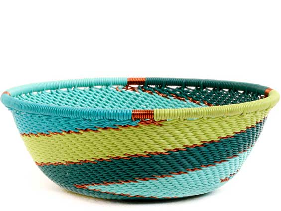 African Basket - Zulu Wire - Small Wide Bowl #57556