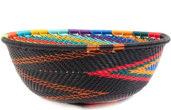 African Basket - Zulu Wire - Small Wide Bowl #58040