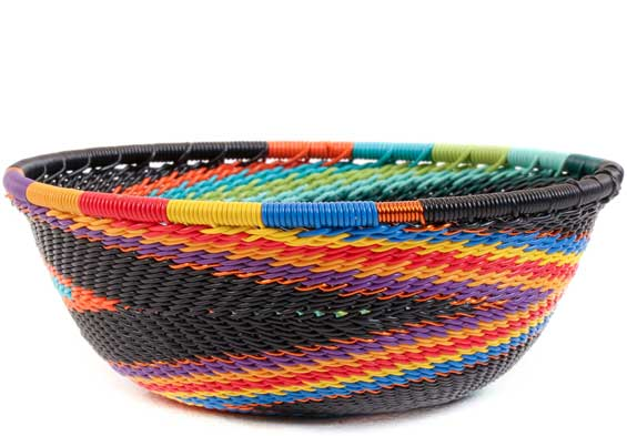 African Basket - Zulu Wire - Small Wide Bowl #58047