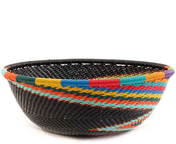 African Basket - Zulu Wire - Small Wide Bowl #59976