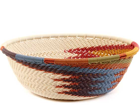 African Basket - Zulu Wire - Small Wide Bowl #60015