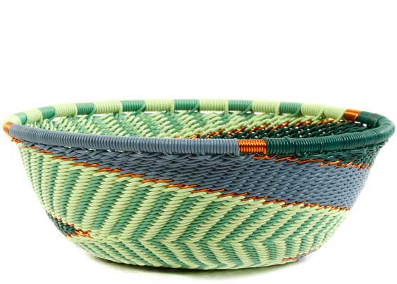 African Basket - Zulu Wire - Small Wide Bowl #60514