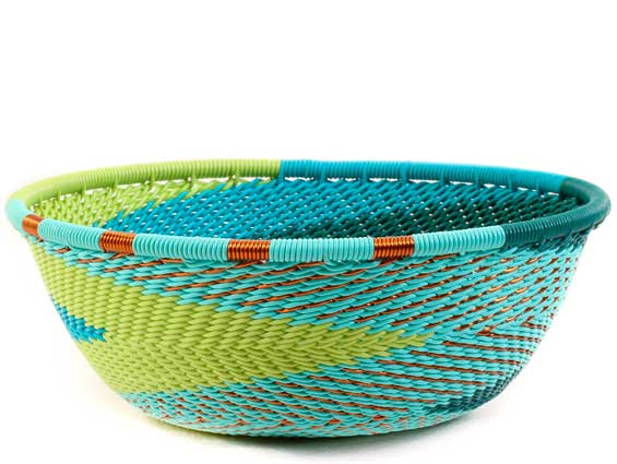 African Basket - Zulu Wire - Small Wide Bowl #61413
