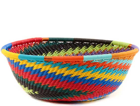 African Basket - Zulu Wire - Small Wide Bowl #61421