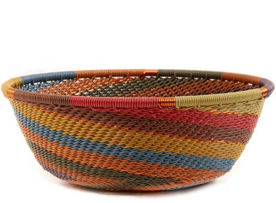 African Basket - Zulu Wire - Small Wide Bowl #61428