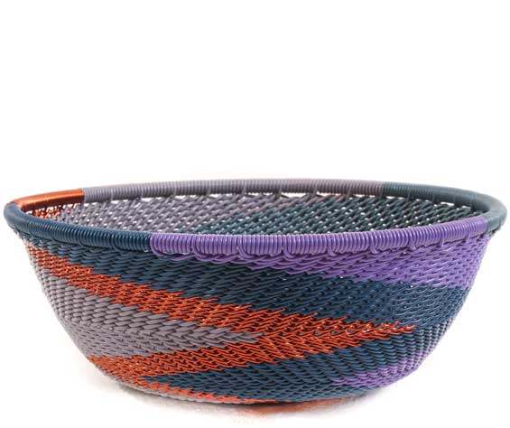 African Basket - Zulu Wire - Small Wide Bowl #62649