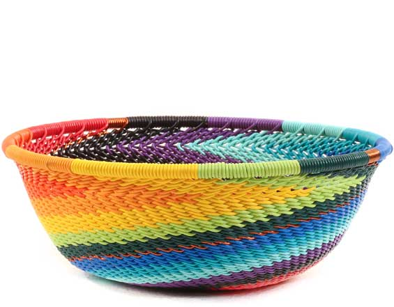 African Basket - Zulu Wire - Small Wide Bowl #62691