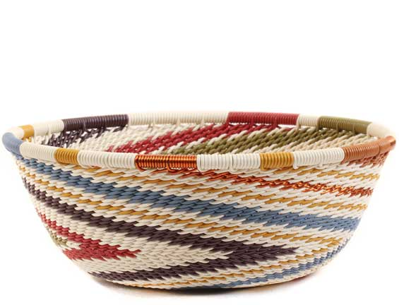 African Basket - Zulu Wire - Small Wide Bowl #62729