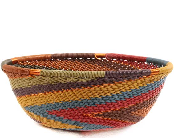 African Basket - Zulu Wire - Small Wide Bowl #65359