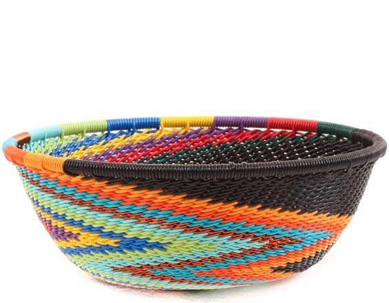 African Basket - Zulu Wire - Small Wide Bowl #65362