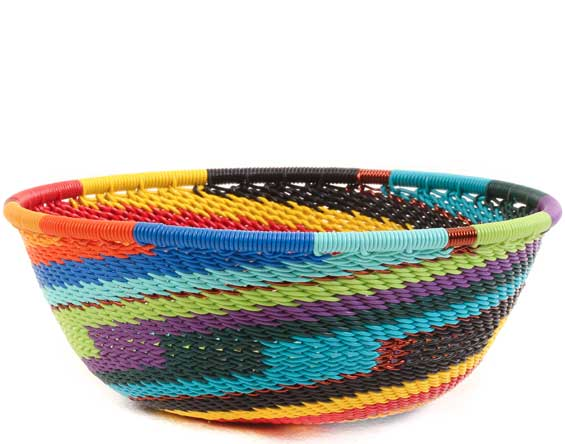 African Basket - Zulu Wire - Small Wide Bowl #65366