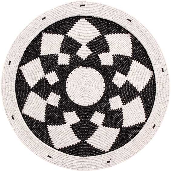 African Basket - Zulu Wire - Flat Coil Weave Plate - 12.5 Inches Across - #66350