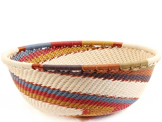 African Basket - Zulu Wire - Small Wide Bowl #68594