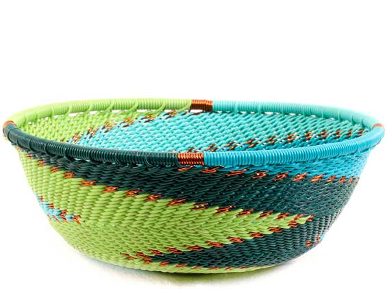 African Basket - Zulu Wire - Small Wide Bowl #68595