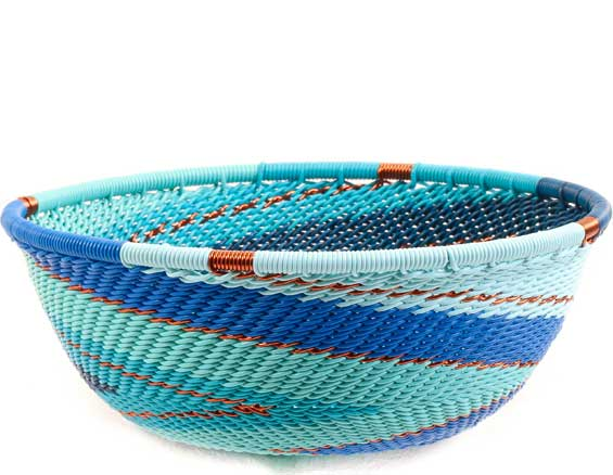 African Basket - Zulu Wire - Small Wide Bowl #68598