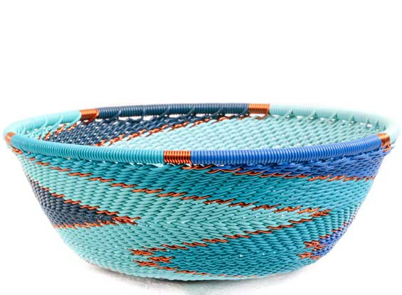 African Basket - Zulu Wire - Small Wide Bowl #69905