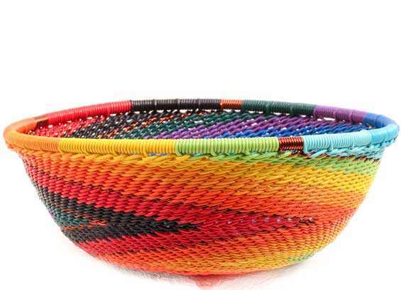 African Basket - Zulu Wire - Small Wide Bowl #69916
