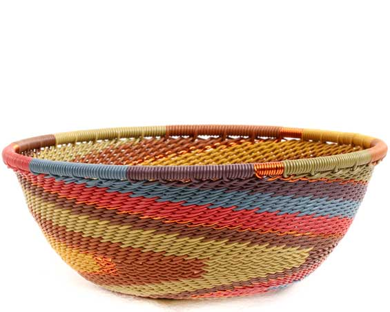 African Basket - Zulu Wire - Small Wide Bowl #71024