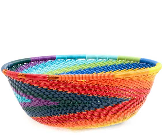 African Basket - Zulu Wire - Small Wide Bowl #71027