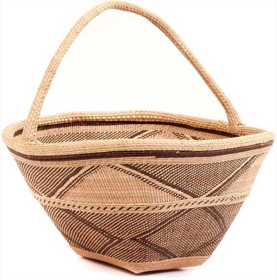 African Basket - Tonga - Zimbabwe Binga Gathering Basket - 14.5 Inches Across - #62396