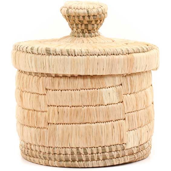 African Basket - Burundi Raffia Coil Weave Canister -  4.5 Inches Tall - #69267