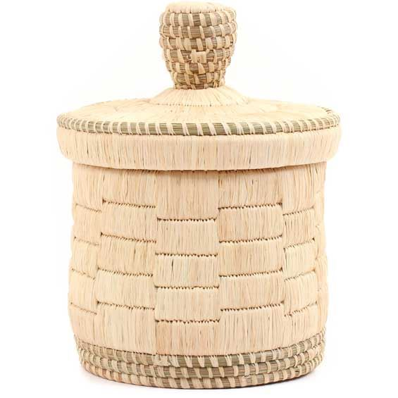 African Basket - Burundi Raffia Coil Weave Canister -  5 Inches Tall - #69273