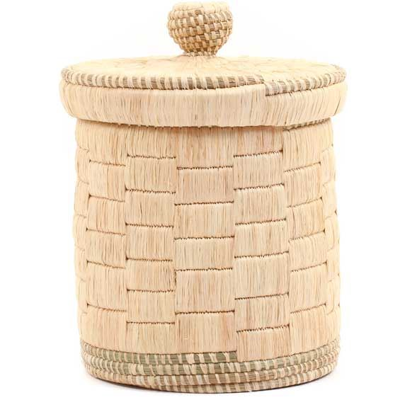 African Basket - Burundi Raffia Coil Weave Canister -  9.75 Inches Tall - #69274