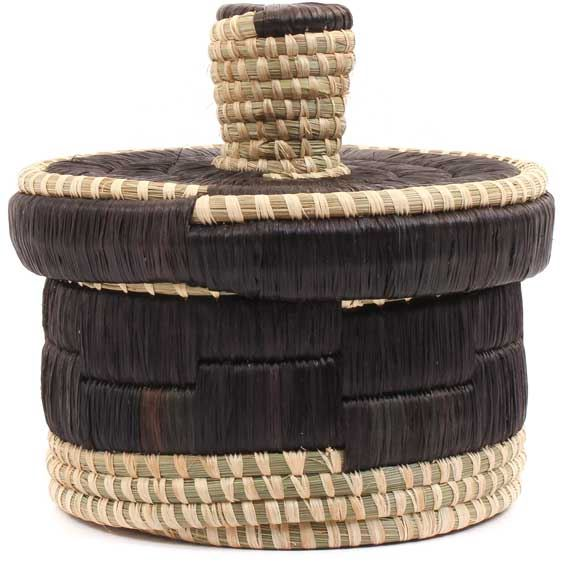 African Basket - Burundi Raffia Coil Weave Canister - 7.75 Inches Tall - #69279
