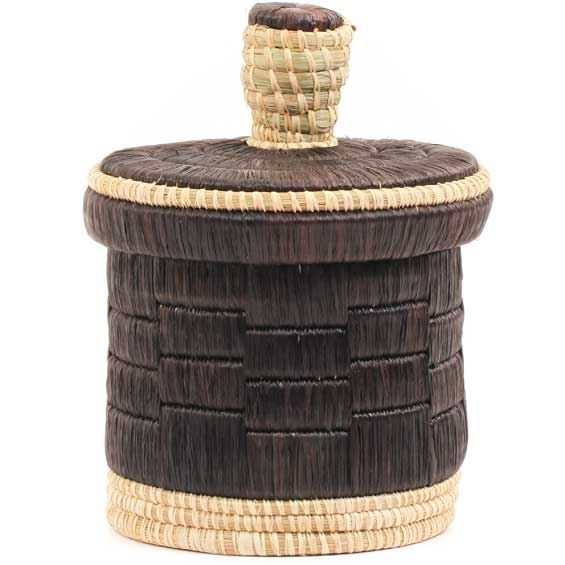 African Basket - Burundi Raffia Coil Weave Canister -  7 Inches Tall - #69281