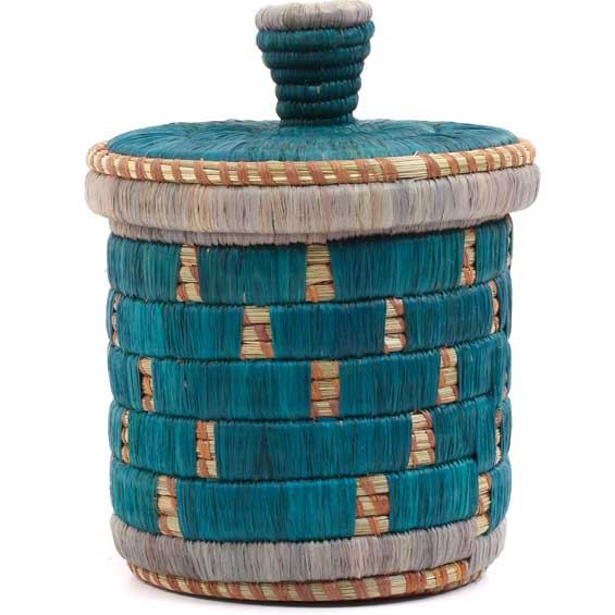 African Basket - Burundi Raffia Coil Weave Canister -  9.5 Inches Tall - #69294