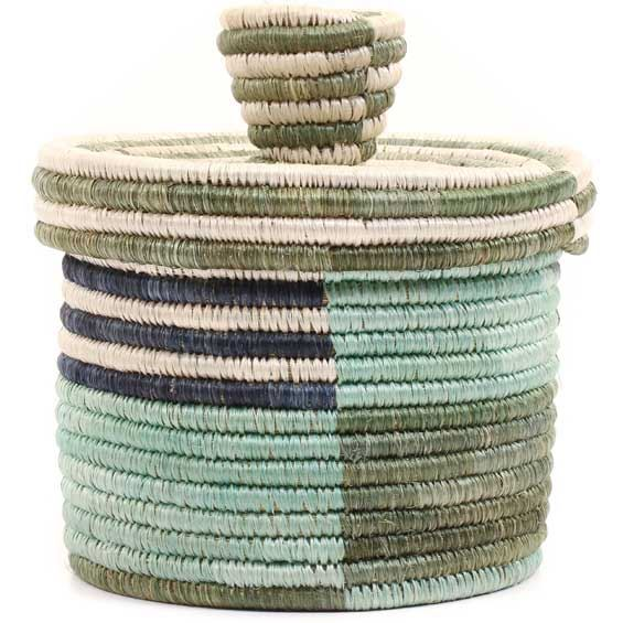 African Basket - Burundi Sisal Coil Weave Canister -  4.75 Inches Tall - #69325