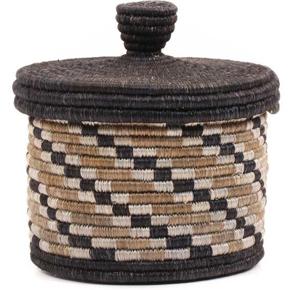 African Basket - Burundi Sisal Coil Weave Canister -  4.5 Inches Tall - #69326
