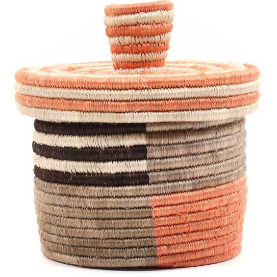 African Basket - Burundi Sisal Coil Weave Canister -  5 Inches Tall - #69327