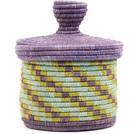 African Basket - Burundi Sisal Coil Weave Canister -  5.25 Inches Tall - #69328