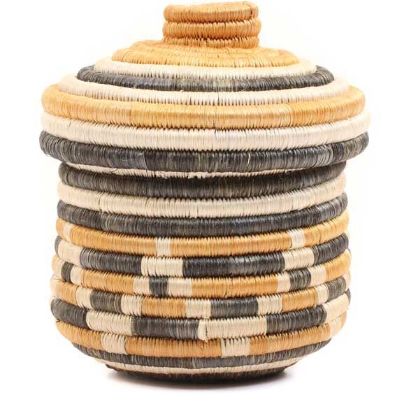 African Basket - Burundi Sisal Coil Weave Canister -  5.5 Inches Tall - #69329