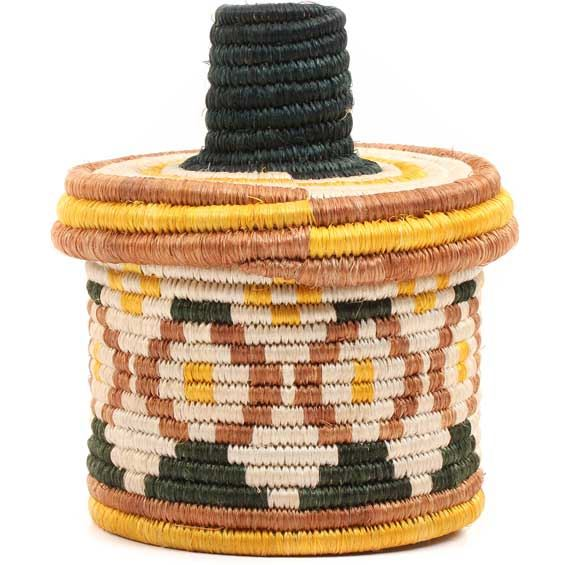 African Basket - Burundi Sisal Coil Weave Canister - 5.5 Inches Tall - #69330