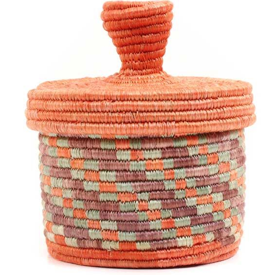 African Basket - Burundi Sisal Coil Weave Canister -  5.25 Inches Tall - #69331