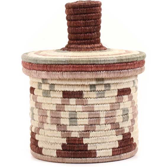 African Basket - Burundi Sisal Coil Weave Canister -  5.75 Inches Tall - #69332