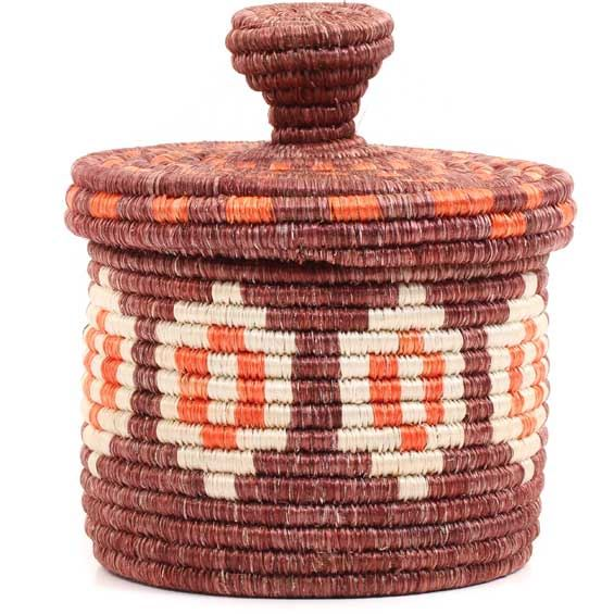 African Basket - Burundi Sisal Coil Weave Canister -  5 Inches Tall - #69334