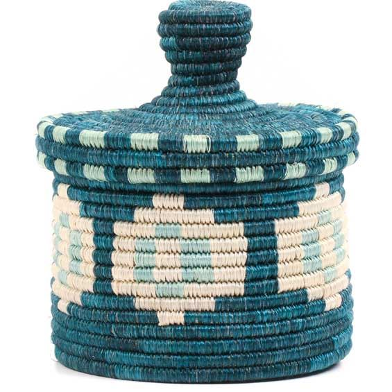 African Basket - Burundi Sisal Coil Weave Canister -  5 Inches Tall - #69335