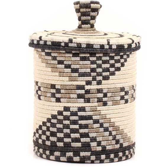 African Basket - Burundi Sisal Coil Weave Canister -  7.75 Inches Tall - #69438