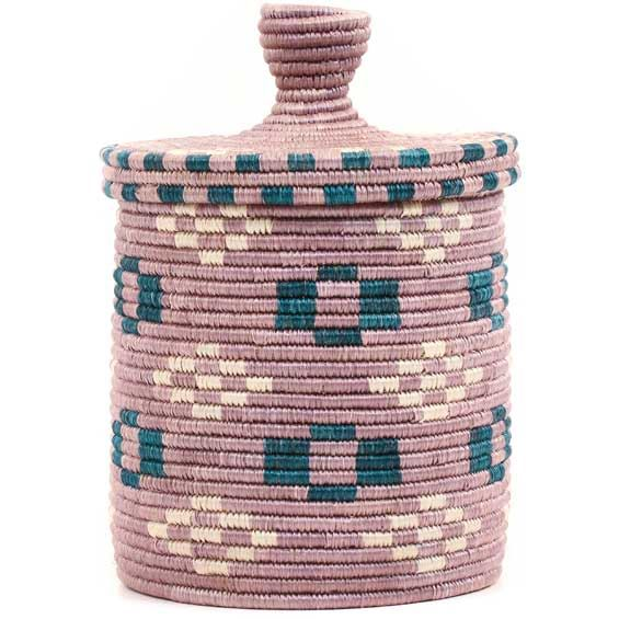 African Basket - Burundi Sisal Coil Weave Canister -  7.75 Inches Tall - #69440