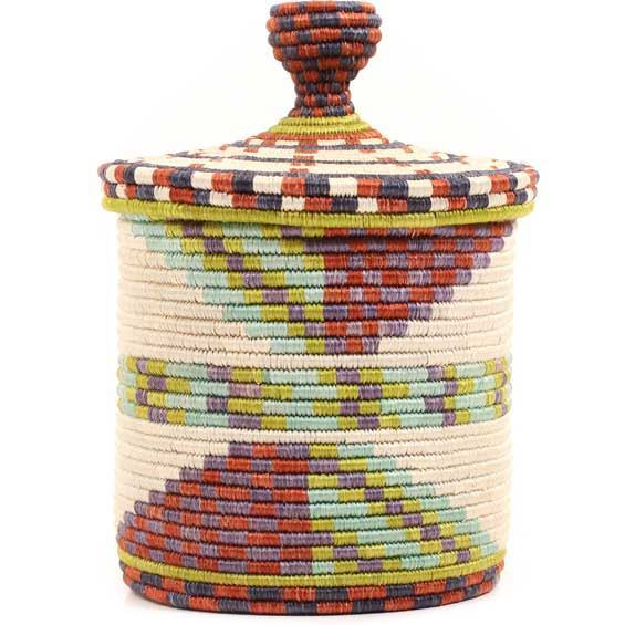 African Basket - Burundi Sisal Coil Weave Canister -  8 Inches Tall - #69441