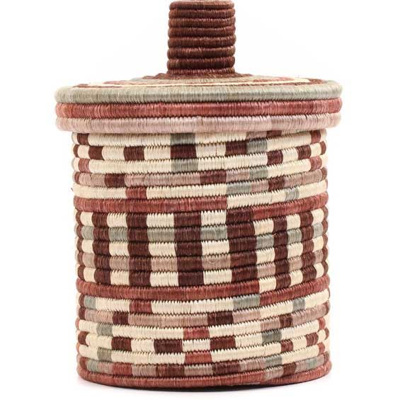 African Basket - Burundi Sisal Coil Weave Canister -  7.75 Inches Tall - #69442